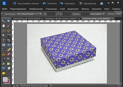 Декорирование квадратной коробочки в Photoshop Elements