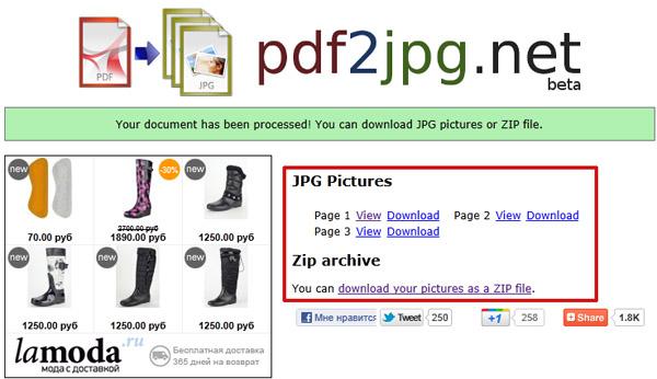 PDF конвертировать в JPG