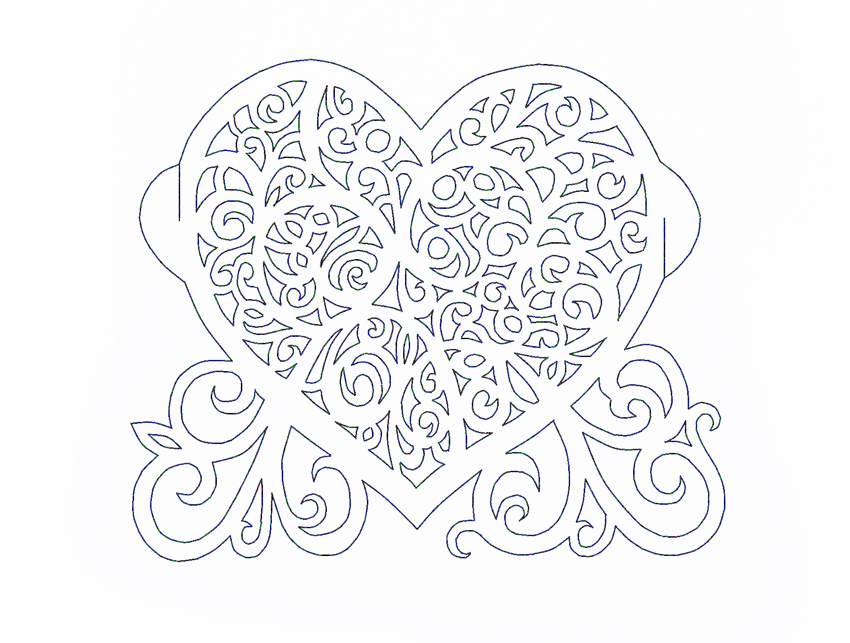 Ажурное сердце (шаблон)