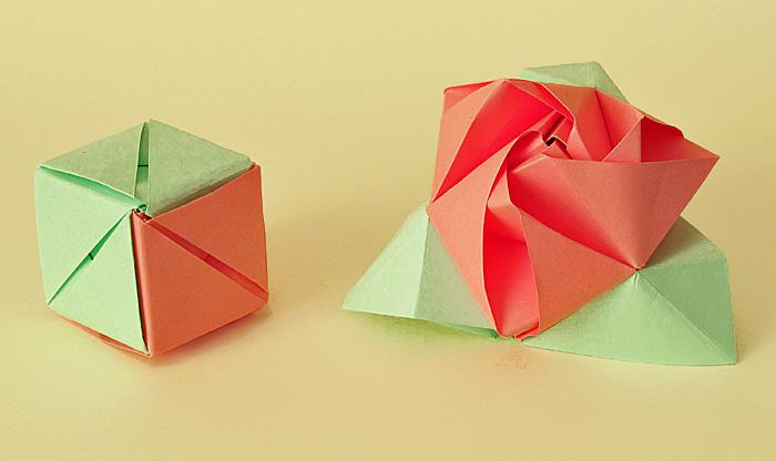 Роза-кубик оригами