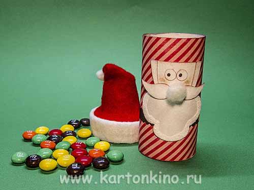 Дед мороз и снегурочка из картона своими