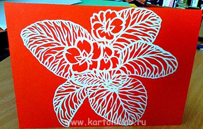 Открытка с резным цветком