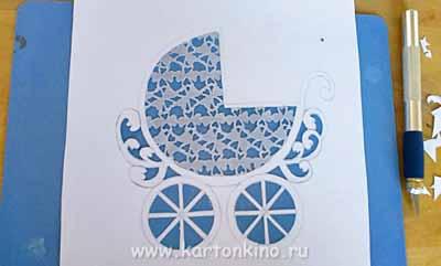 Детская колясочка (вырезание из бумаги)