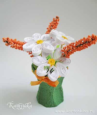 Букетик из цветов в технике квиллинг