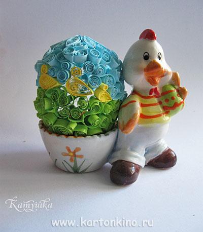 Пасхальное яйцо в технике квиллинг