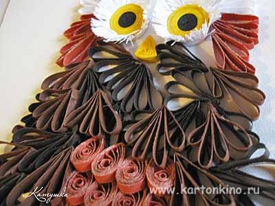 Квиллинг сова - подарок учителю своими руками