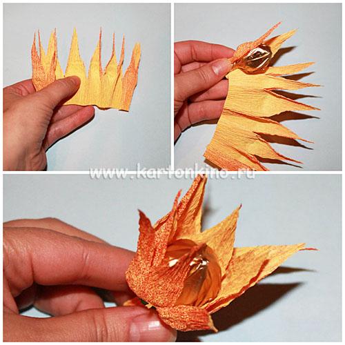 Осенний букет из конфет своими руками фото
