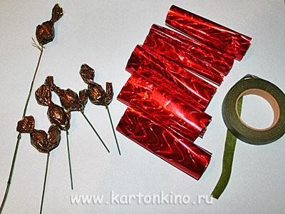 Осенний букет из конфет: мастер-класс