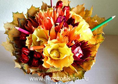 Осенний букет из конфет в подарок учительнице