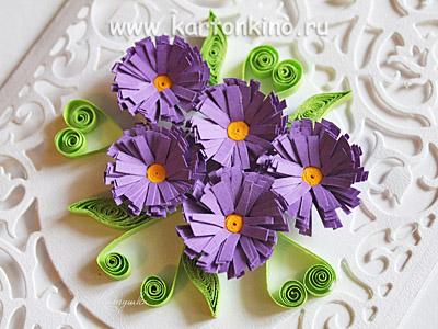 Бахромчатые квиллинг цветы