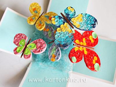 Magic box с бабочками в технике квиллинг