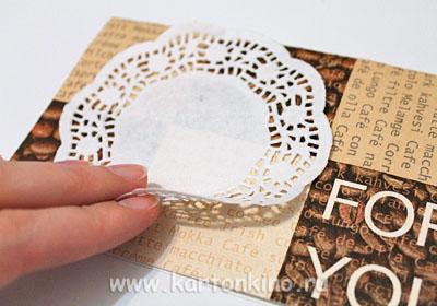Открытка с конфетками в технике квиллинг