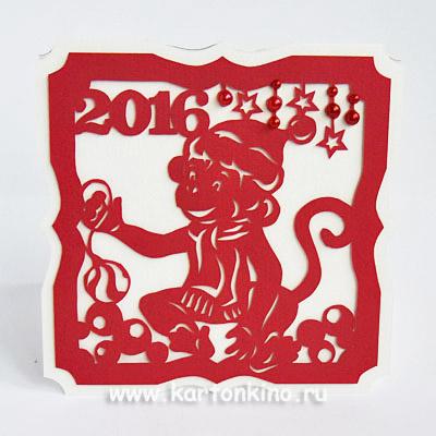 Новогодняя открытка с обезьянкой
