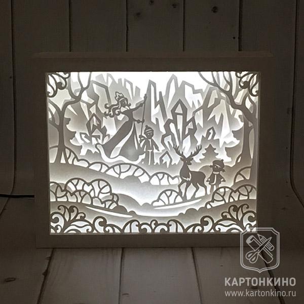 "Лайтбокс из бумаги и картона по сказке ""Снежная королева"""